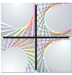 Abstract paper ribbons on gray background vector image