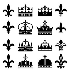 crown and fleur de lis lily flowers royal vector image vector image