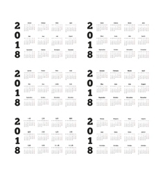 Set of 2018 year simple calendars on different vector image vector image