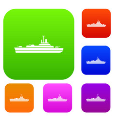 warship set collection vector image vector image