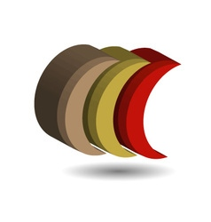 Crescent shaped 3d logo with shadow vector image vector image