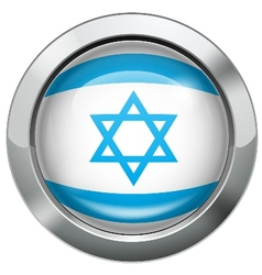 Israel flag metal button vector image
