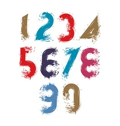 Multicolored handwritten numbers doodle brushed vector image vector image