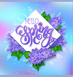 spring hand lettering - hello spring lilac vector image