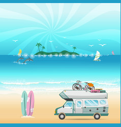 summer beach camping island landscape with vector image vector image
