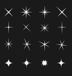 twinkling star set bright on black vector image vector image