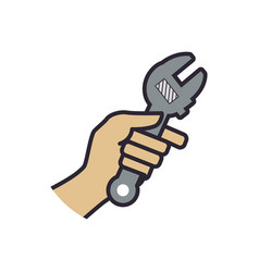 wrench construction tool equipment vector image