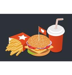 burger cola potato vector image
