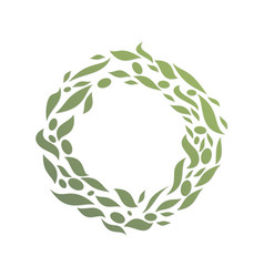 Circle round green leaf abstract logo vector