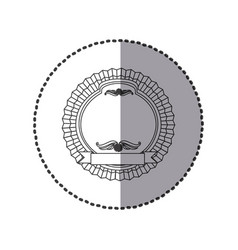 contour round emblem with ribbon icon vector image vector image