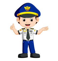Cute happy airplane pilot waving vector