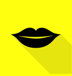 lips sign black icon with flat style vector image vector image