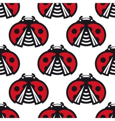 Seamless pattern of little spotted red ladybugs vector image
