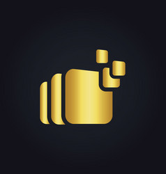 square data gold logo vector image vector image