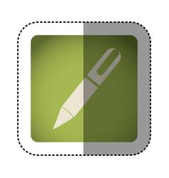 sticker color square with pen icon vector image vector image