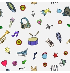 Music Doodle symbols Seamless pattern vector image vector image