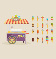 set of ice-cream icons and ice-cream shopping vector image vector image