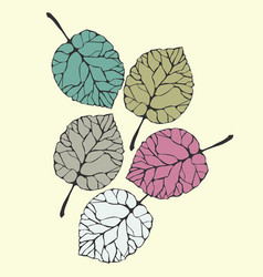sketch of a leaf hand drawn leaves vector image