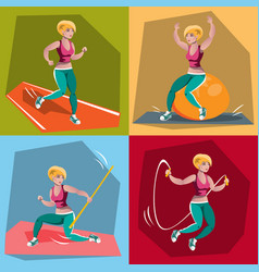 young girl in fitness sportswear vector image