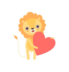 adorable lion standing with red heart funny vector image