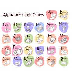 Alphabet for kids with fruits english abc cute vector