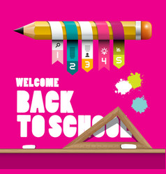 Back to school design with pencil infographic vector