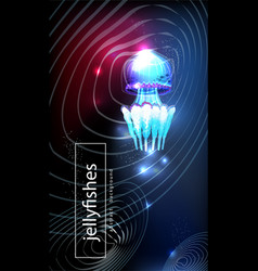 Background with glowing vivid jellyfish vector