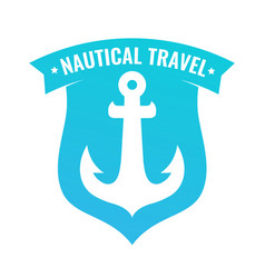 badge shaped shield with anchor of ship vector image