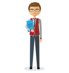 Banker with glasses and briefcase vector