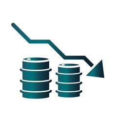 Barrels down arrow trade crisis economy oil price vector