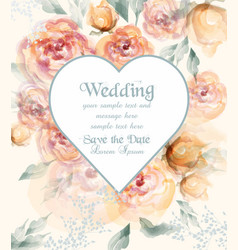 beautiful heart shape wedding card with watercolor vector image