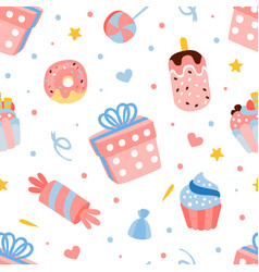 Birthday party seamless pattern decorative vector