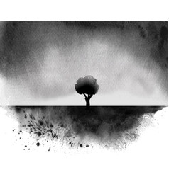 Black ink wash painting with a tree under rain vector