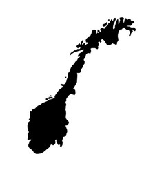 Black silhouette country borders map of norway on vector