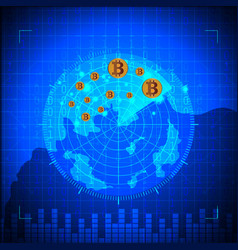 blue radar bitcoin digital currency futuristic vector image