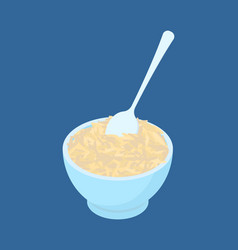 Bowl of brown rice porridge and spoon isolated vector