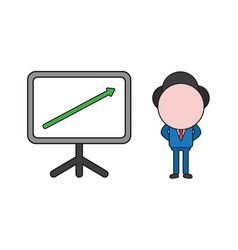 Businessman character with sales chart arrow vector
