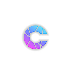 C letter gradient logo mockup fragmented symbol vector