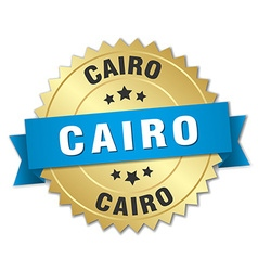 Cairo round golden badge with blue ribbon vector