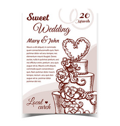 cake decorated flowers and heart banner vector image