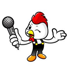 Cartoon rooster character holding a microphone vector