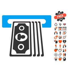 Cashpoint terminal icon with love bonus vector