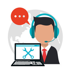 Character call center professional work vector