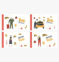 characters call taxi service landing page template vector image