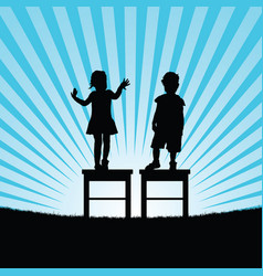 Child happy silhouette on chair set vector