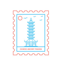 chinese ancient pagoda postage stamp blue and red vector image