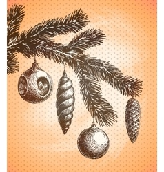 christmas decoration on a tree sketch vector image