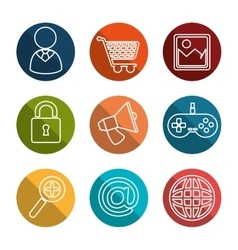 collection social media items graphic vector image