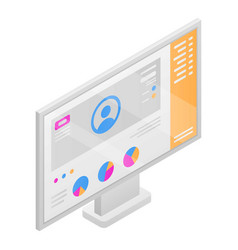Computer monitor icon isometric style vector