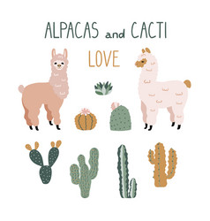 Cute cartoon alpacas and cacti design elements vector